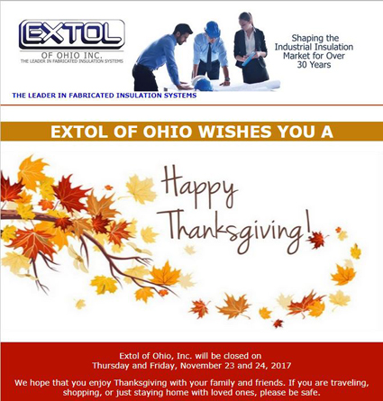 Happy Thanksgiving From Extol of Ohio